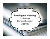 """Reading for Meaning: Listening Comprehension Activity - """"D"""