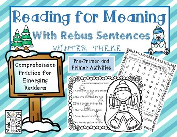 Reading for Meaning and Comprehension with Rebus Sentences + Word Searches