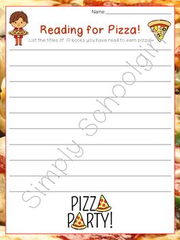 Reading for Pizza Reward Charts