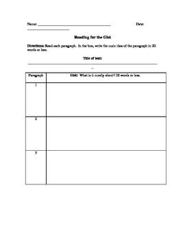 Reading for the Gist graphic organizer