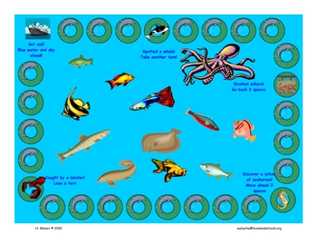 Reading game board-Ocean themed
