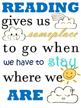 Reading gives us someplace... Quote Poster PACK *4* PDF