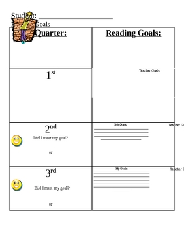 Reading goals- individual student