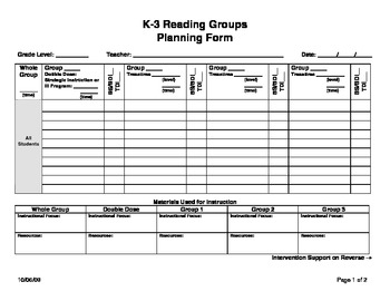 Reading groups planning form