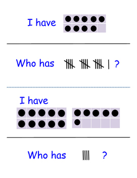 """""""I Have, Who Has?"""" Reading in Math with Ten Frames and Tally Marks"""