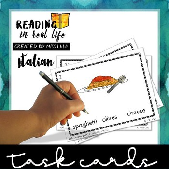 Reading in Real Life Task Cards: Italian Restaurant