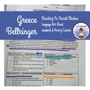 Reading in Social Studies Bell work: Greece- SS.6.W.3.3