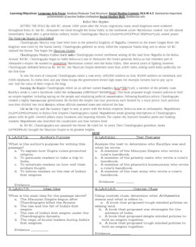 Reading in Social Studies Bell work: India- SS.6.W.4.5 & SS.6.W.4.1