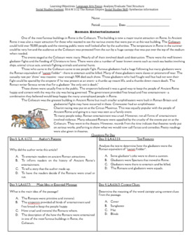 Reading in Social Studies Bell work: Roman Empire- SS.6.W.3.12