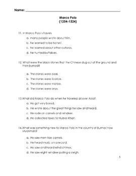 Reading in Social Studies MARCO POLO w/ 20 Multiple Choice Read Comprehension Qs
