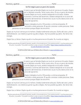 Reading in Spanish: A rescue dog dies during Ecuador earthquake relief efforts