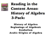 Reading in the Content Areas:  History of Algebra 3-Pack