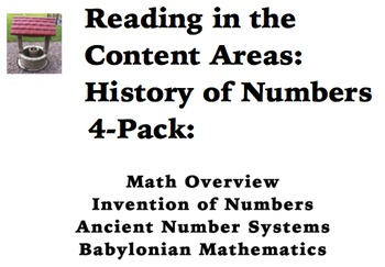 Reading in the Content Areas:  History of Numbers 4-pack