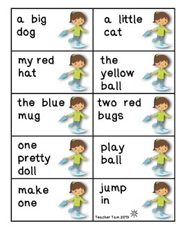 Reading in the Rain:  Blends, Digraphs, Long Vowels, and Sight Word Phrases