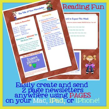 reading is fun newsletter template for pages use on a mac ipad or