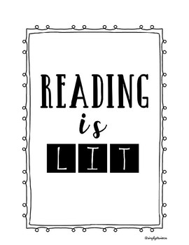 Reading is Lit! Classroom decoration, funny printable