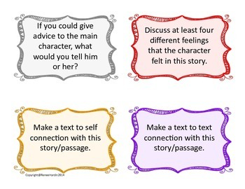 Reading is Thinking: Activity Cards