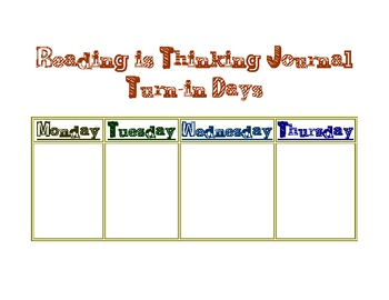 Reading is Thinking Journal Days