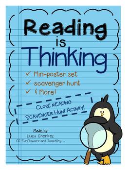 Close Reading Mini-Poster set & Scavenger Hunt! Reading Strategies & More!