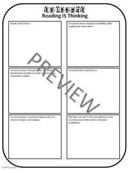 Reading is Thinking Thinkmat - Student Recording Sheet