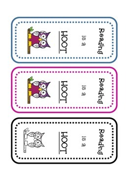 Reading is a Hoot bookmark FREEBIE!