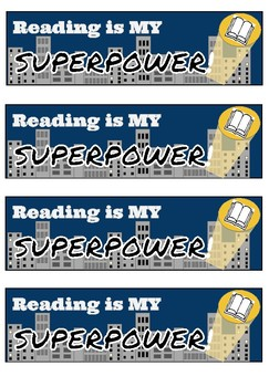 Reading is my Superpower Bookmark and Writing Pages