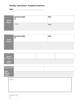 Lesson Intervention Thoughtful Classroom Lesson Plan Template - Reading intervention lesson plan template