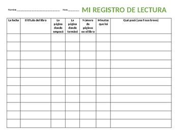 Reading log in Spanish - use with any text!