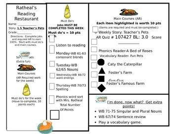 Reading menu Journeys lesson 5