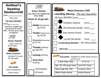 Reading menu. Journeys lesson 6