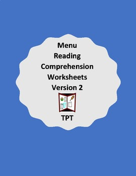 Reading menus- Worksheet packets - Version 2