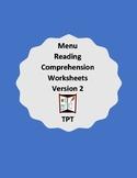 Reading menus- Worksheet packets - Version 2