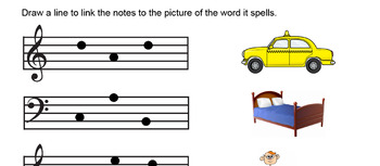 Reading note names Treble and Bass clef - Picture matching
