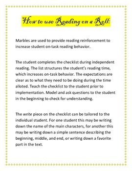Reading on a Roll: Increase Student's Independent Reading