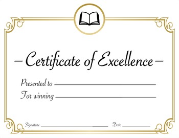 Reading or English Class or Literature Award Certificate