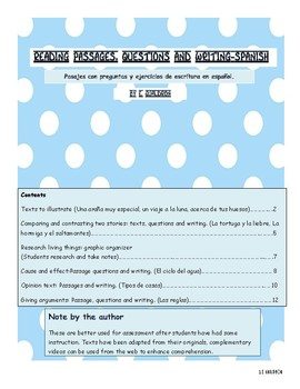 Reading passages with questions and writing