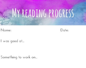 Watercolour reading progress templates - set of 10