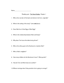 Reading quiz The Great Gatsby Chapter 1