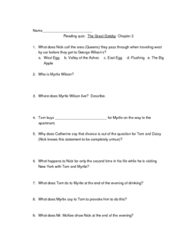 Reading quiz The Great Gatsby Chapter 2