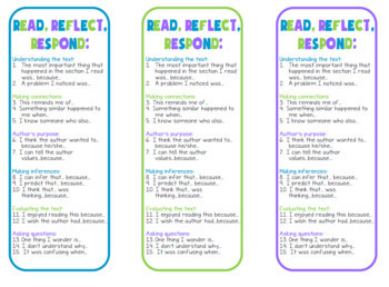 Reading response bookmarks with sentence starters