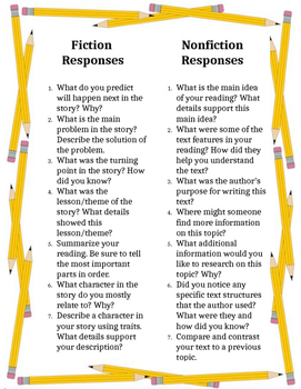 Reading response prompts and reading log