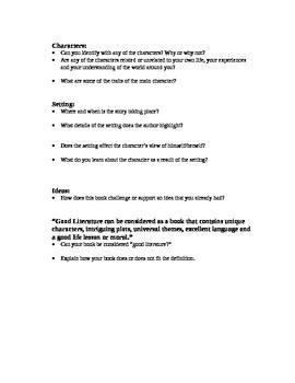 Reading response questions for high school students