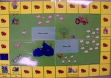 Reading skill practice with farm themed game board