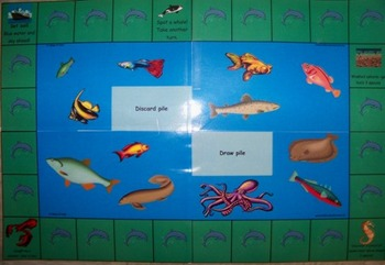 Reading skill practice with ocean themed gamed board