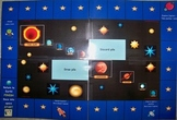 Reading skill practice with space themed game board
