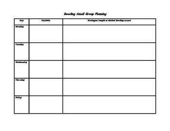 Reading small group planning sheet