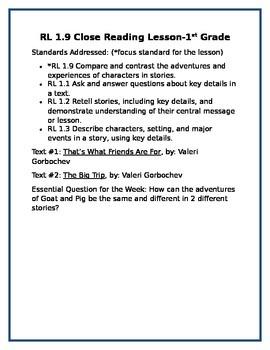 Reading standard 9 in First Grade