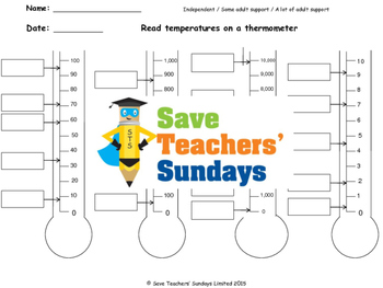 Reading temperature (celsius)  lesson plans, worksheets and more