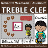 Treble Clef Note Names Interactive Music Game + Assessment {Chocolate}