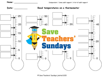 Reading thermometers (metric) lesson plans, worksheets and more